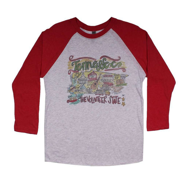 Women's Tee Shirts - Tennessee Roadmap Raglan Tee Shirt In Red By Southern Roots