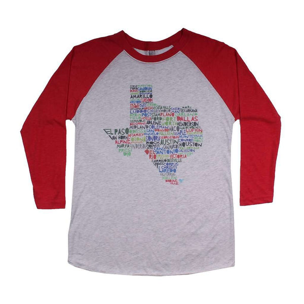Women's Tee Shirts - Texas Cities And Towns Raglan Tee Shirt In Red By Southern Roots