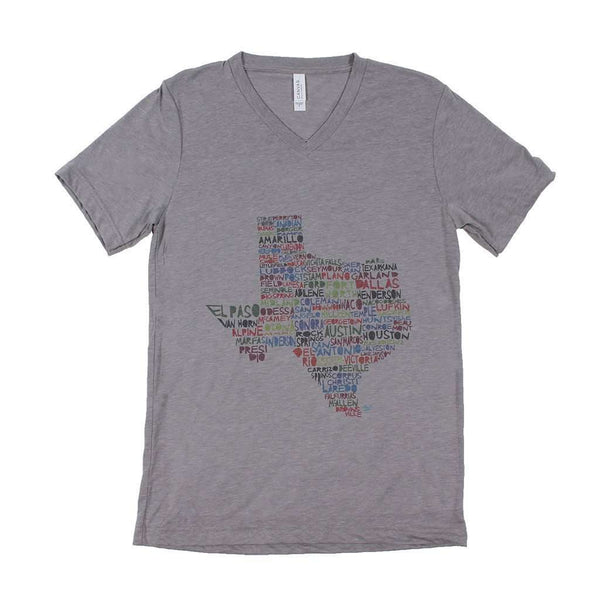 Women's Tee Shirts - Texas Cities And Towns V-Neck By Southern Roots
