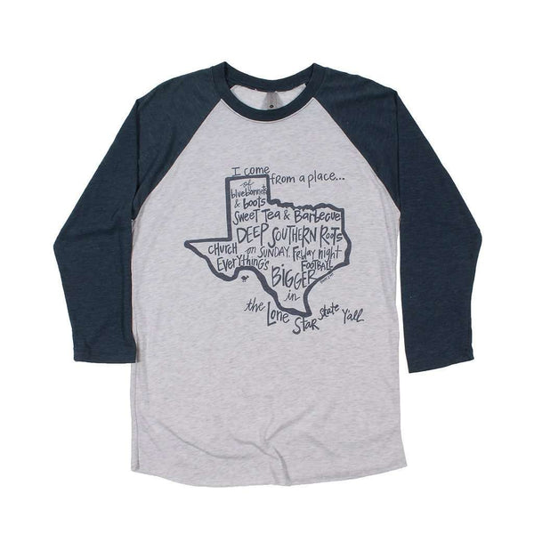 Women's Tee Shirts - Texas I Come From A Place Raglan Tee Shirt By Southern Roots