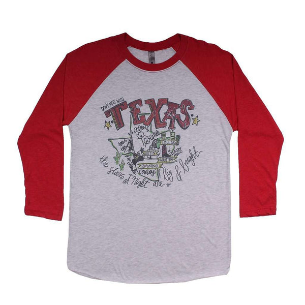 Women's Tee Shirts - Texas Roadmap Raglan Tee Shirt In Red By Southern Roots