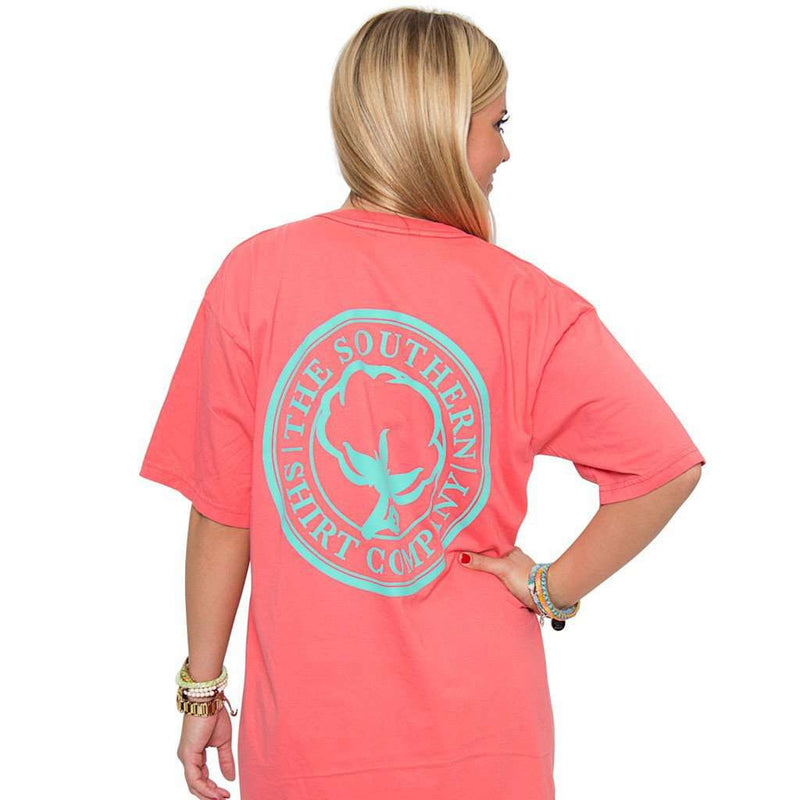 Women's Tee Shirts - The Carly V-Neck Tee In Sugar Coral Pink By The Southern Shirt Co.