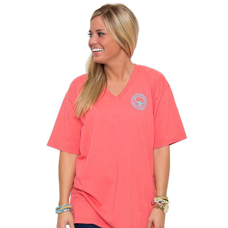 The Carly V-Neck Tee in Sugar Coral Pink by The Southern Shirt Co. - Country Club Prep