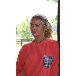 Women's Tee Shirts - The Hampton Unisex Long Sleeve Tee Shirt In Salmon By The Fraternity Collection