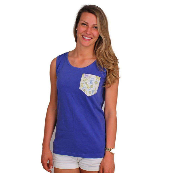 Women's Tee Shirts - Theta Phi Alpha Tank Top In Blue Bayou With Pattern Pocket By The Frat Collection - FINAL SALE