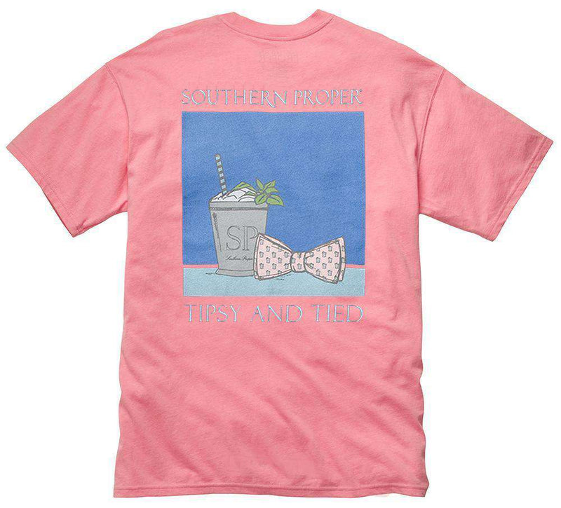 Tipsy and Tied Tee in Salmon by Southern Proper - FINAL SALE