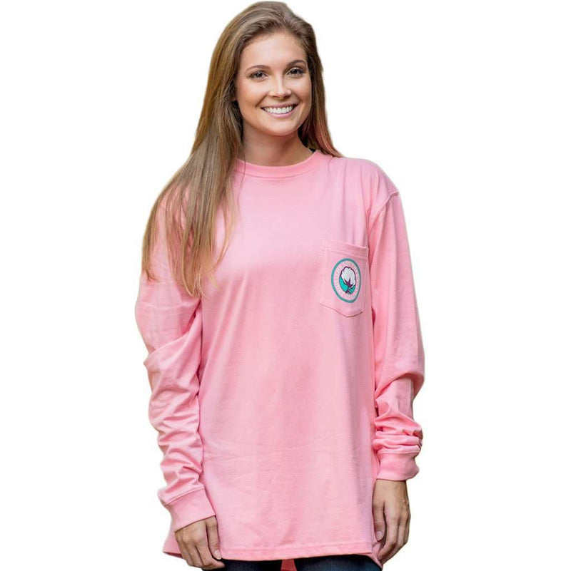 Tunisian Logo Long Sleeve Tee Shirt in Rose Pink by The Southern Shirt Co. - FINAL SALE