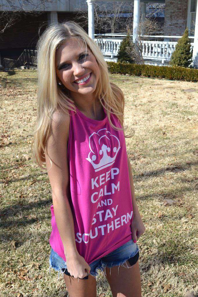 Women's Tee Shirts - Unisex Keep Calm And Stay Southern Tank Top In Fucshia By Lauren James - FINAL SALE