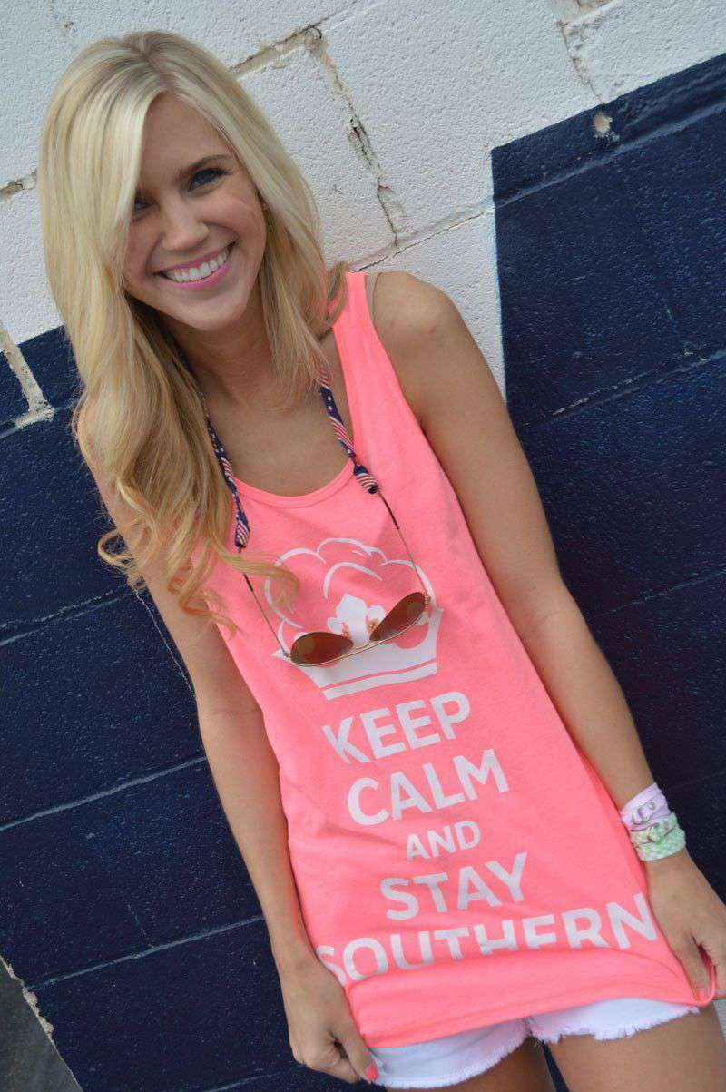 Women's Tee Shirts - Unisex Keep Calm And Stay Southern Tank Top In Neon Pink By Lauren James - FINAL SALE