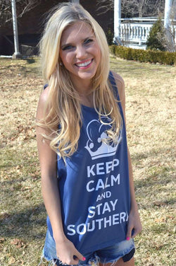 Women's Tee Shirts - Unisex Keep Calm And Stay Southern Tank Top In Soft Navy By Lauren James - FINAL SALE