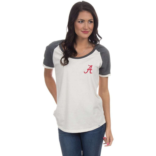 University of Alabama Vintage Tailgate Tee in White & Heathered Grey by Lauren James  - 1