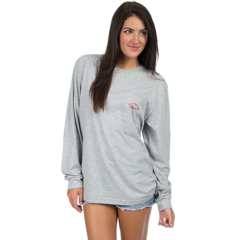 University of Arkansas Long Sleeve Stadium Tee in Heather Grey by Lauren James - FINAL SALE