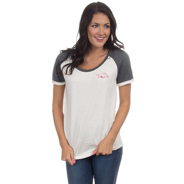 University of Arkansas Vintage Tailgate Tee in White & Heathered Grey by Lauren James  - 1
