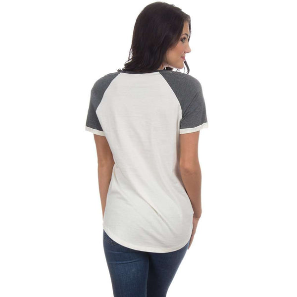 University of Arkansas Vintage Tailgate Tee in White & Heathered Grey by Lauren James - FINAL SALE