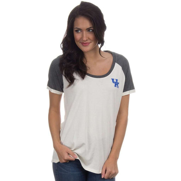 University of Kentucky Vintage Tailgate Tee in White and Heathered Grey by Lauren James  - 1