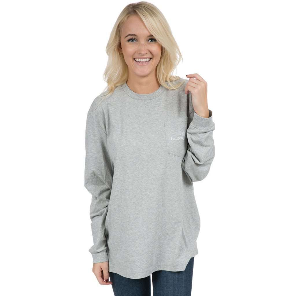 Women's Tee Shirts - University Of South Carolina Helmet Long Sleeve Tee In Heather Grey By Lauren James