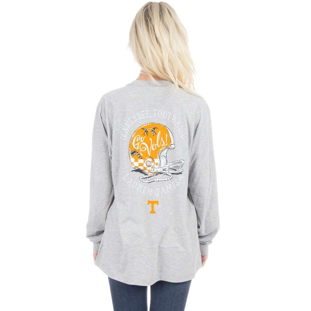 Women's Tee Shirts - University Of Tennessee Helmet Long Sleeve Tee In Heather Grey By Lauren James