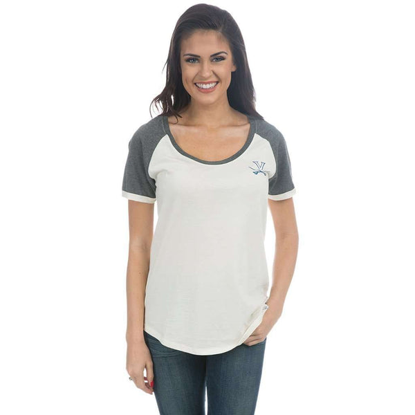 University of Virginia Vintage Tailgate Tee in White & Heathered Grey by Lauren James  - 1