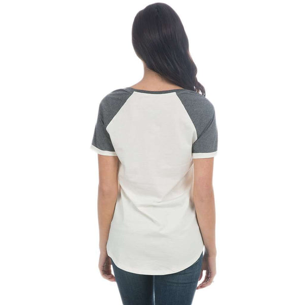 University of Virginia Vintage Tailgate Tee in White & Heathered Grey by Lauren James - FINAL SALE