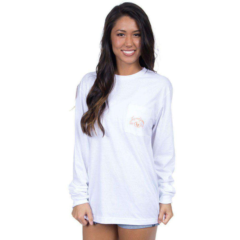 Virginia Classy Saturday Long Sleeve Tee in White by Lauren James - FINAL SALE