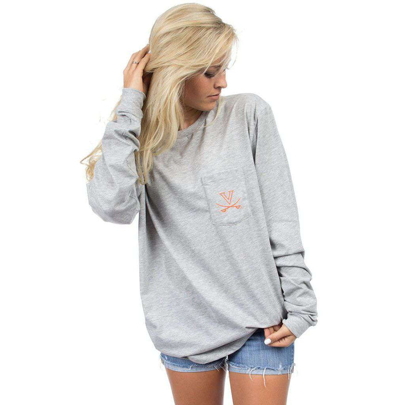 Virginia Long Sleeve Stadium Tee in Heather Grey by Lauren James