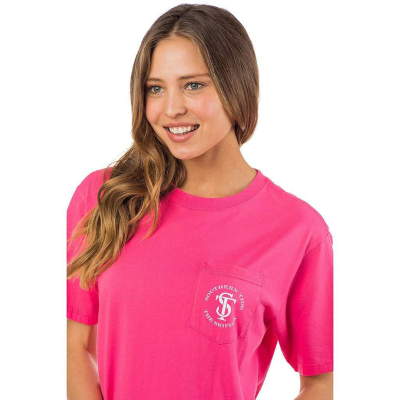 Women's Skipjack Seal Pocket Tee Shirt in Bloom Pink by Southern Tide