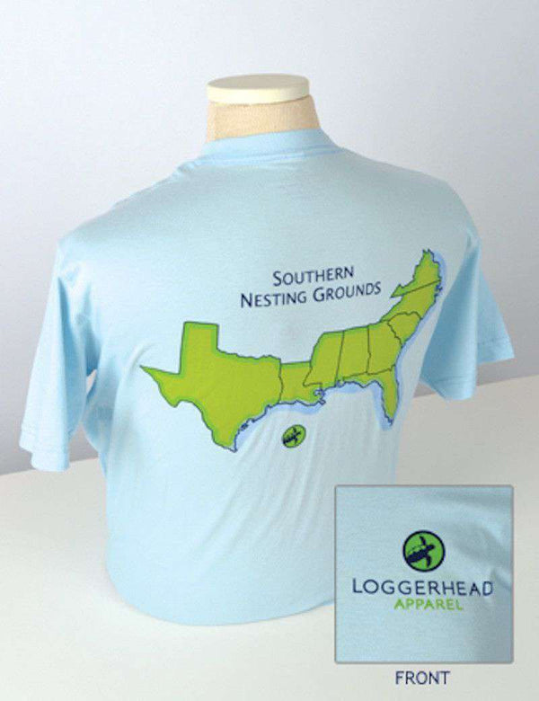 Women's Southern Nesting Grounds Tee in Sky Blue by Loggerhead Apparel - FINAL SALE