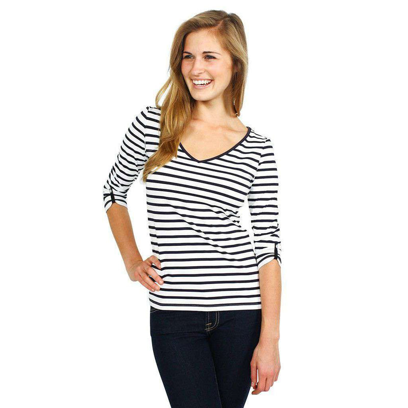 Women's Tops - Anemone Striped Shirt In White And Navy By Saint James