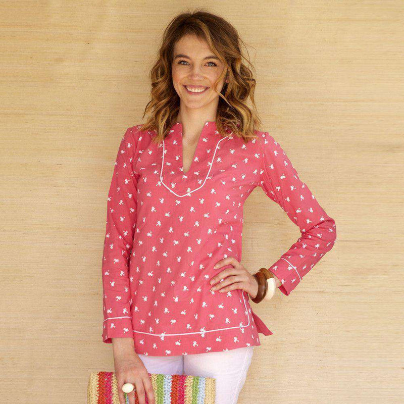 Women's Tops - Audrey Tunic In Pink With Palm Trees By Kayce Hughes - FINAL SALE