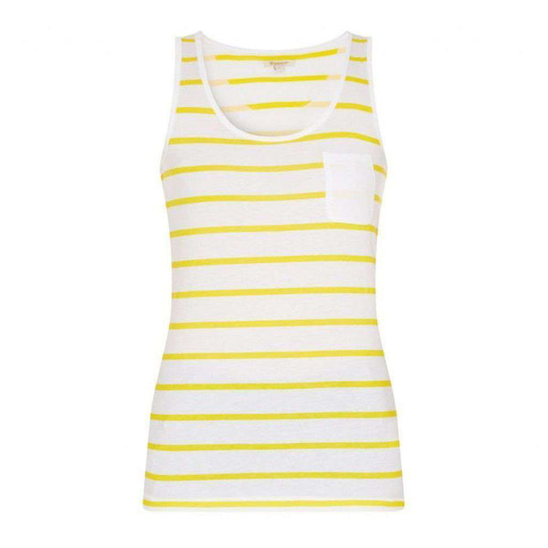 Women's Tops - Berryhead Vest In Yellow/White By Barbour - FINAL SALE