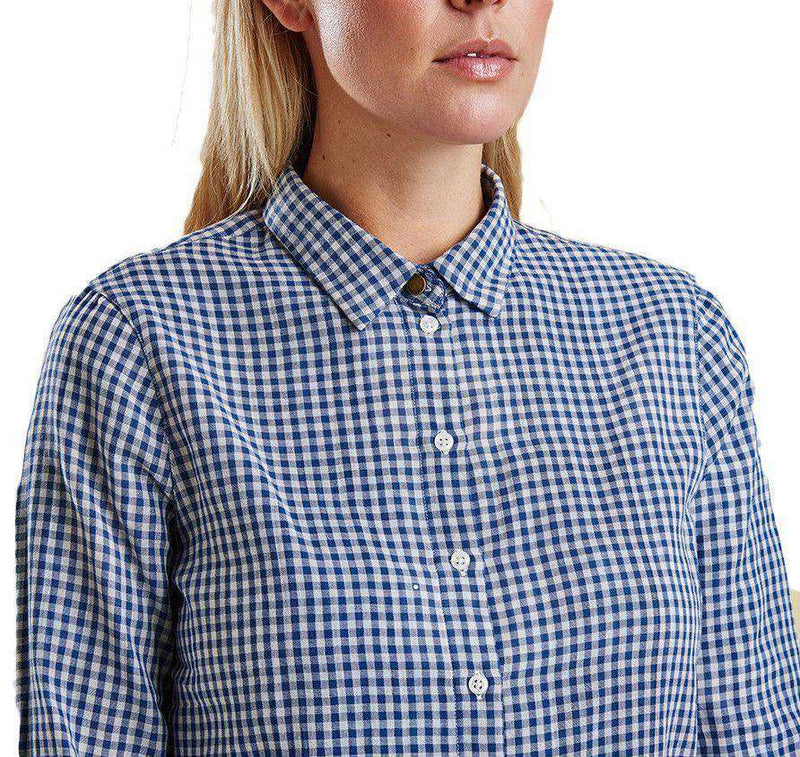 Bower Shirt in Navy Gingham by Barbour