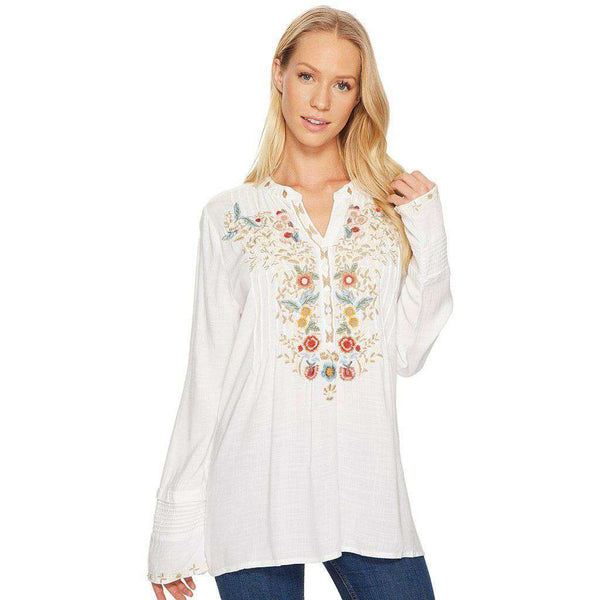 Women's Tops - Button Tunic In Vintage White With Floral Embroidery By True Grit (Dylan)