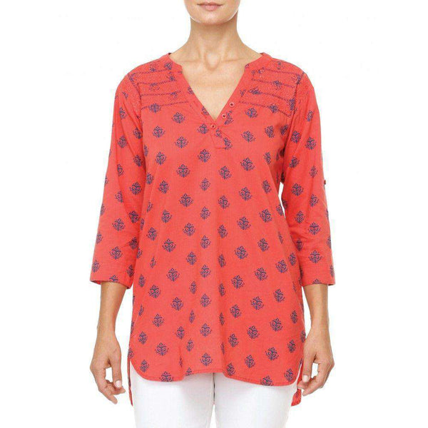 Women's Tops - Classic Tunic In Coral Thistle By Hatley - FINAL SALE