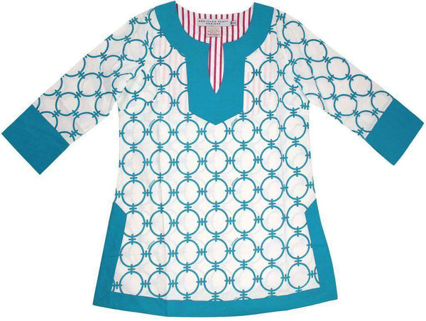 Classic V-Neck Hand Printed Tunic in Turquoise Chains by Gretchen Scott Designs - FINAL SALE