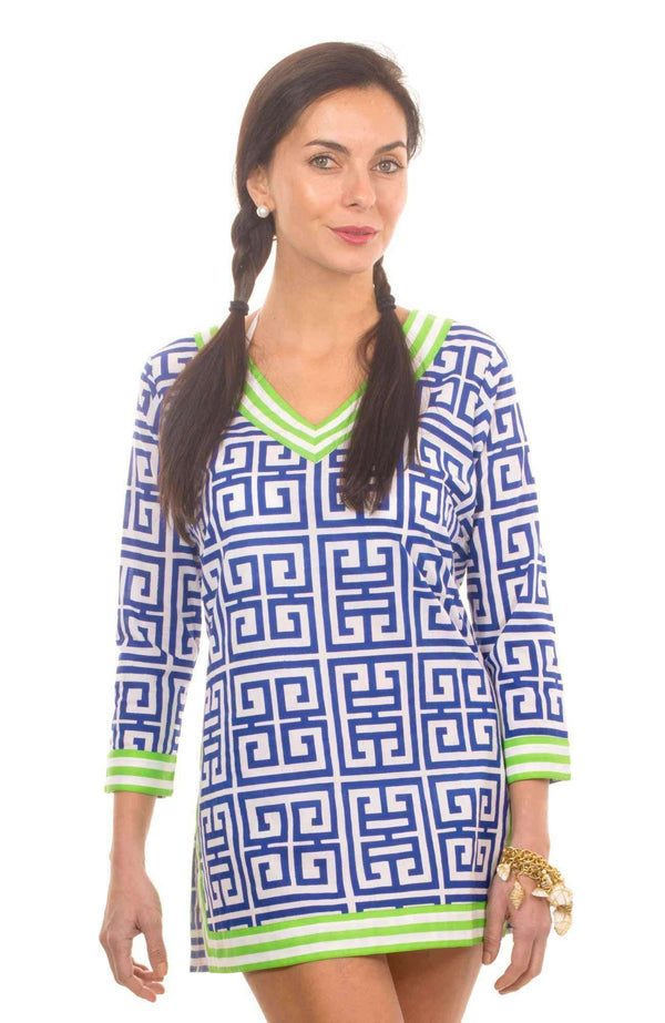 Women's Tops - Classic V-Neck Mandarin Tunic In Royal And White By Gretchen Scott Designs - FINAL SALE