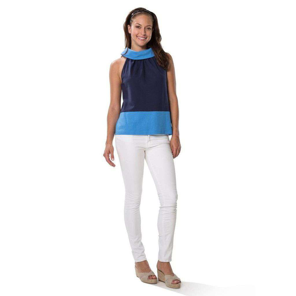 3395474ad318 Sail to Sable Color Block Ponte Top in Blue – Country Club Prep