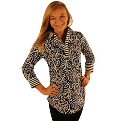 Women's Tops - Cornflower Sport Shirt In Navy By Gretchen Scott Designs - FINAL SALE