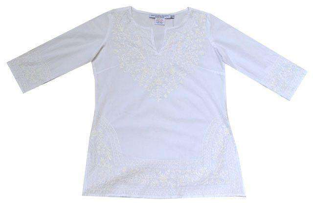Women's Tops - Cotton Tunic In White With White Embroidery By Gretchen Scott Designs - FINAL SALE