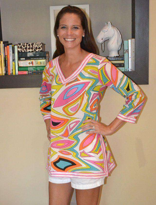 Women's Tops - Cotton V-neck Printed Tunic In Bits N' Pieces By Gretchen Scott Designs - FINAL SALE