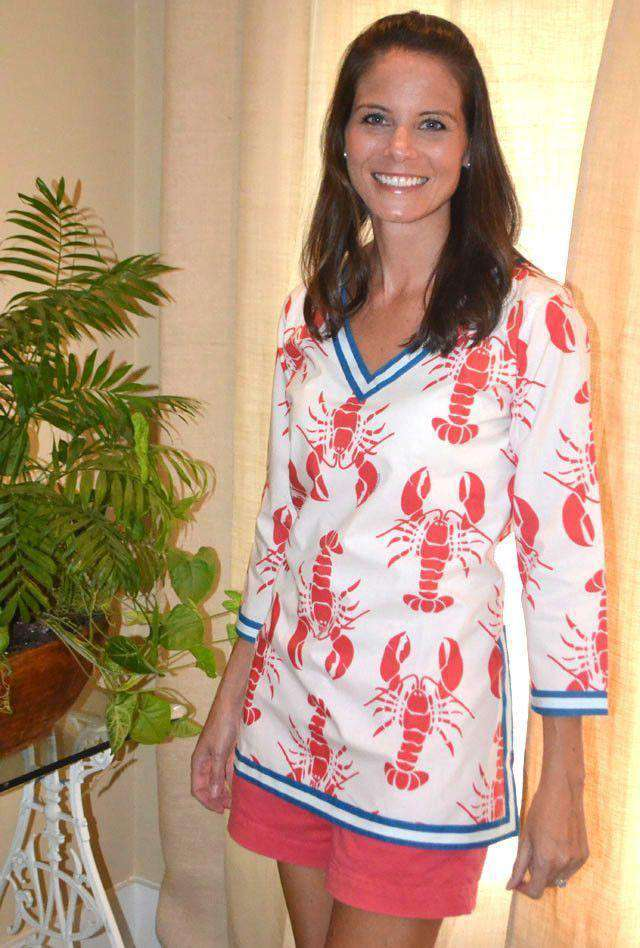 Women's Tops - Cotton V-neck Printed Tunic In Red Lobster Fest By Gretchen Scott Designs - FINAL SALE