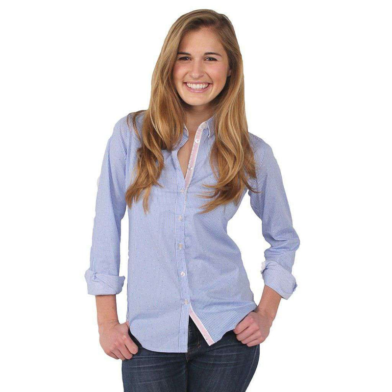 Women's Tops - Dany ML Button Down Shirt In White And Light Blue Stripes By Saint James