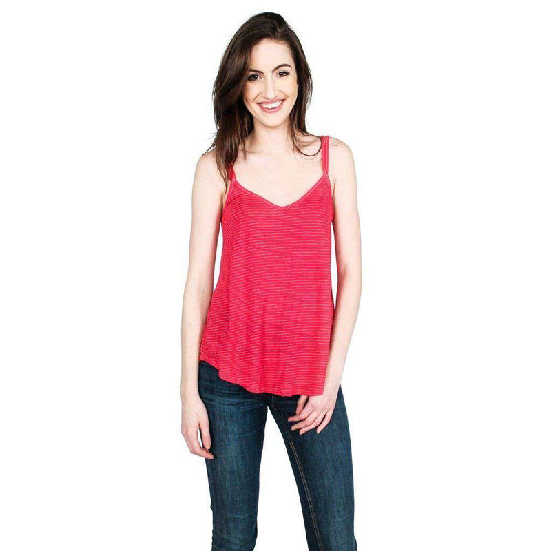 Women's Tops - Dare To Barre Tank In Antique Rose Stripe By Beyond Yoga - FINAL SALE