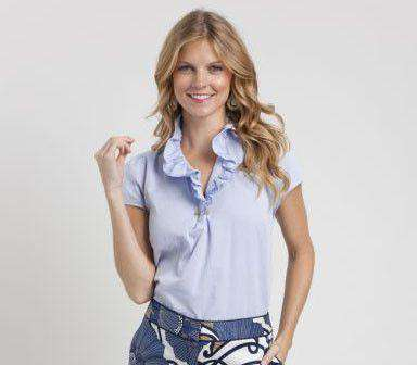 Women's Tops - Elizabeth Ruffled Blouse In Light Blue By Elizabeth McKay