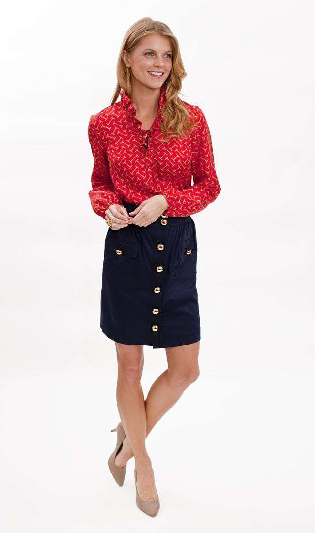 Women's Tops - Elizabeth Ruffled Blouse In Red Bit Print Silk By Elizabeth McKay - FINAL SALE