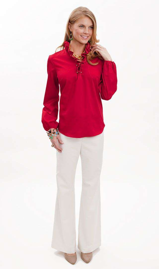 Women's Tops - Elizabeth Ruffled Blouse In Red Solid By Elizabeth McKay - FINAL SALE