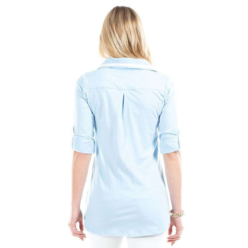 Women's Tops - Emma Top In Sky/White By Duffield Lane - FINAL SALE