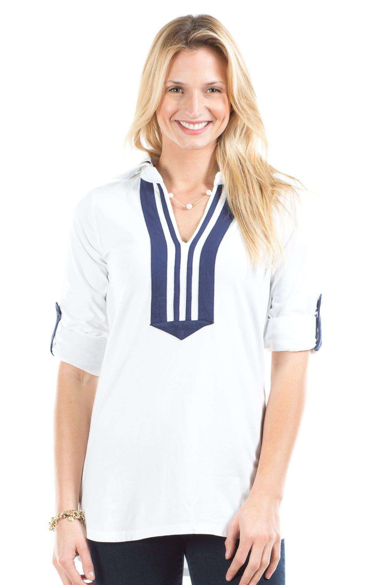 Women's Tops - Emma Top In White/Navy By Duffield Lane - FINAL SALE