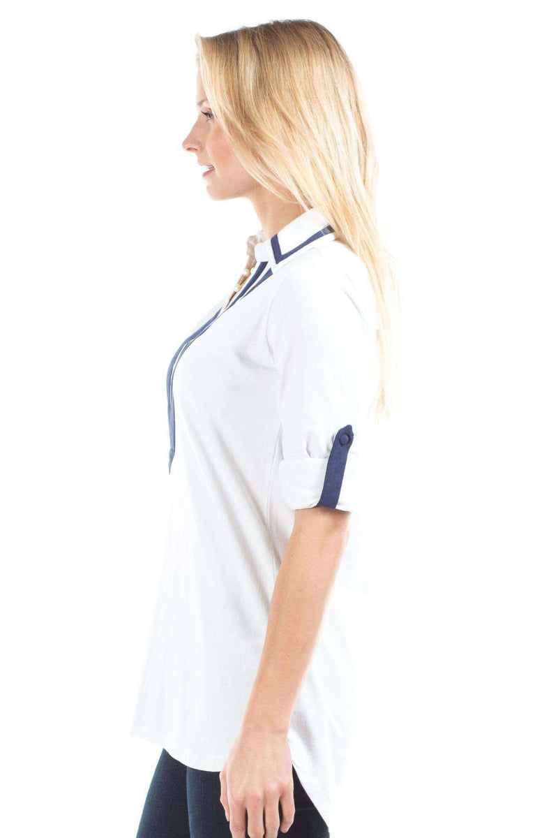 Emma Top in White/Navy by Duffield Lane - FINAL SALE