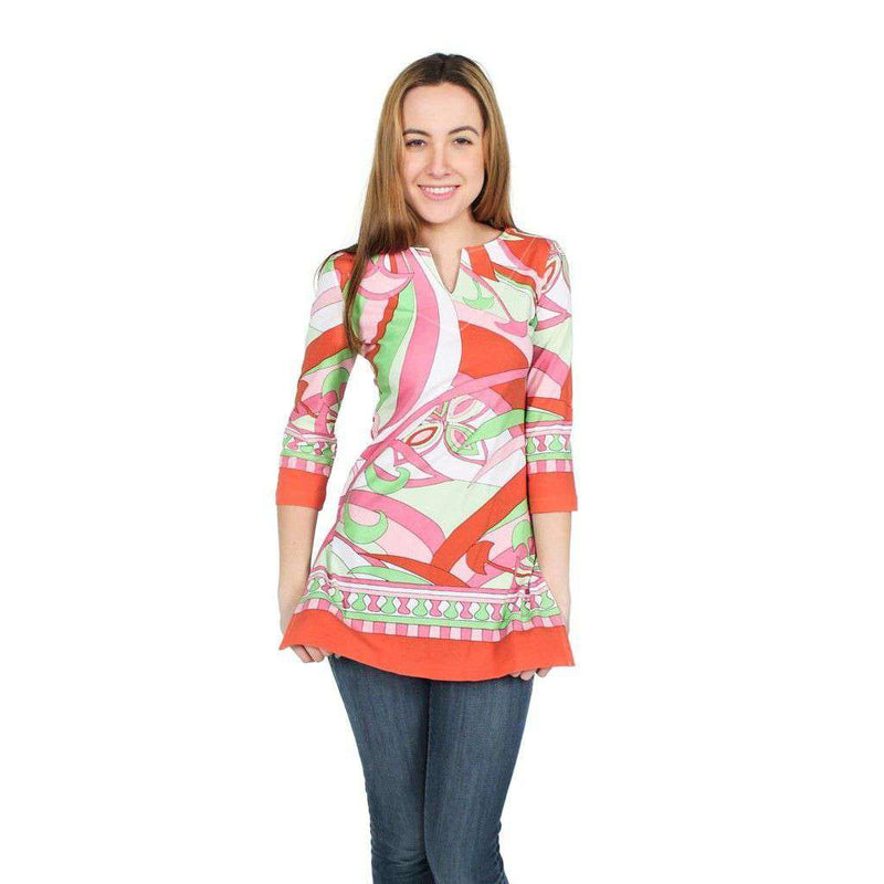 Engineered Knit Slit Neck Tunic in Isabelle Coral and Lime by Barbara Gerwit - FINAL SALE