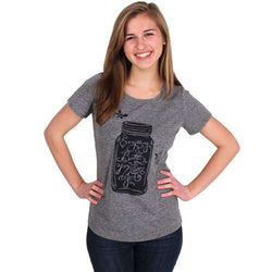 Women's Tops - Everything's Better In A Mason Jar Tee In Grey By Geneologie - FINAL SALE